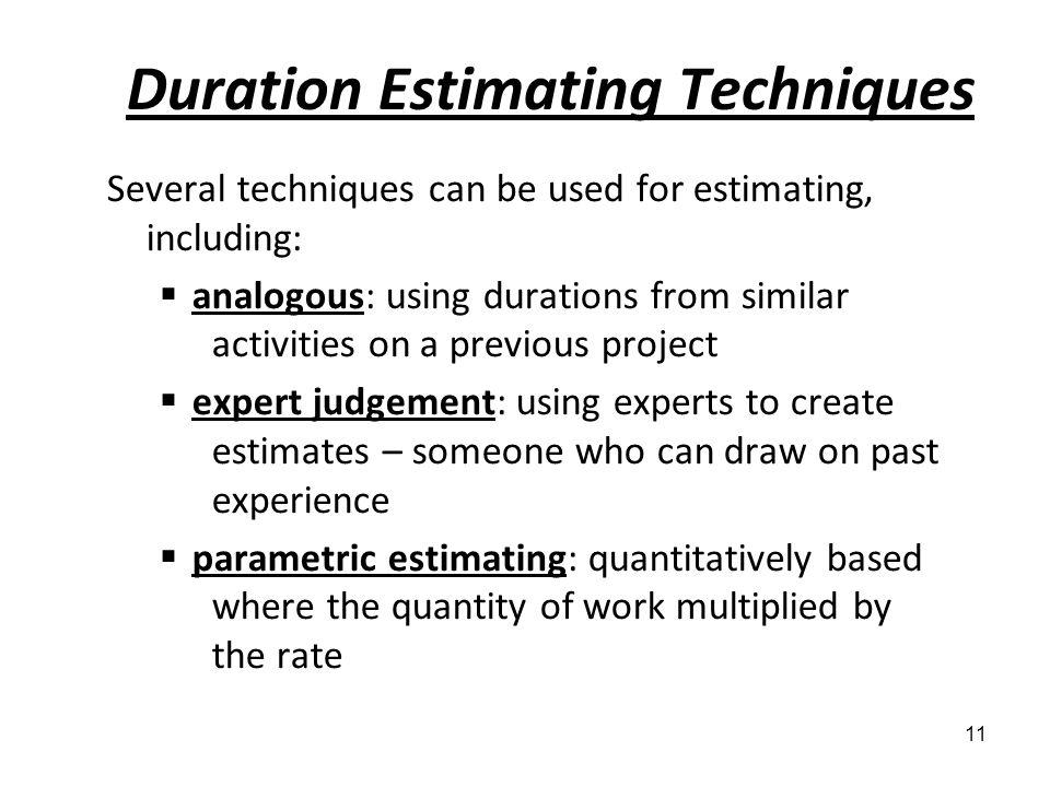 Duration Estimating Techniques