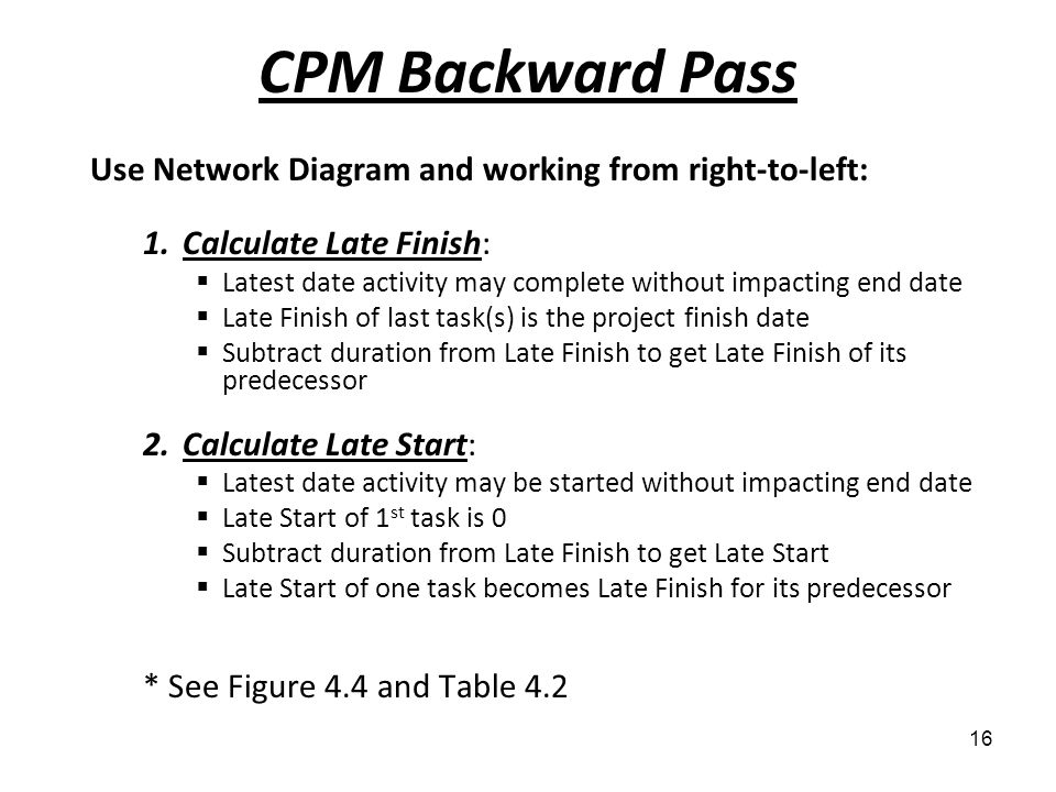 CPM Backward Pass Use Network Diagram and working from right-to-left: