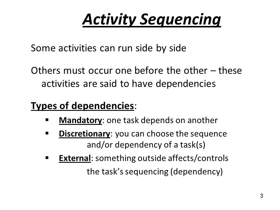 Activity Sequencing Some activities can run side by side