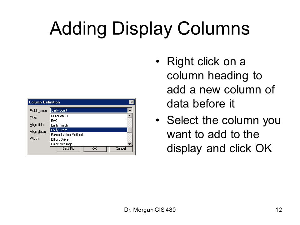 Adding Display Columns