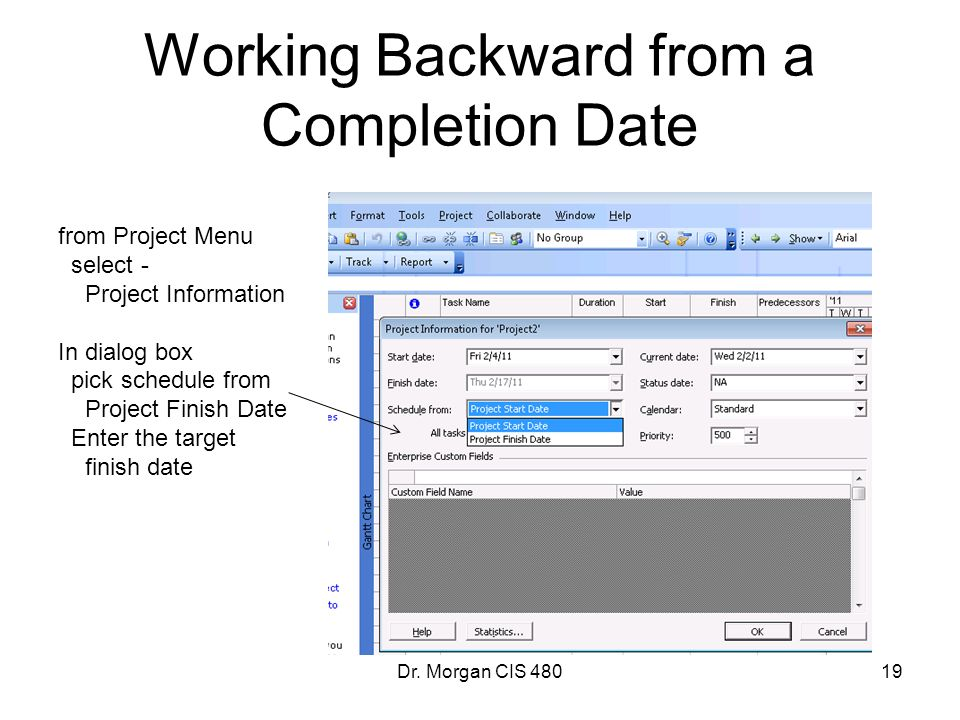 Working Backward from a Completion Date