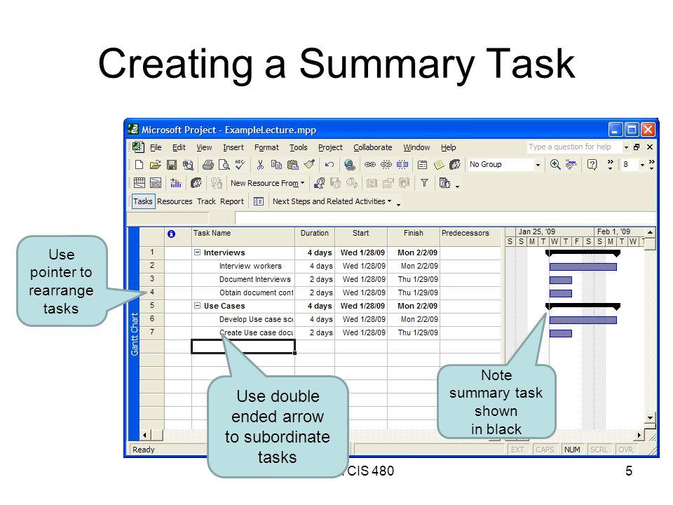 Creating a Summary Task