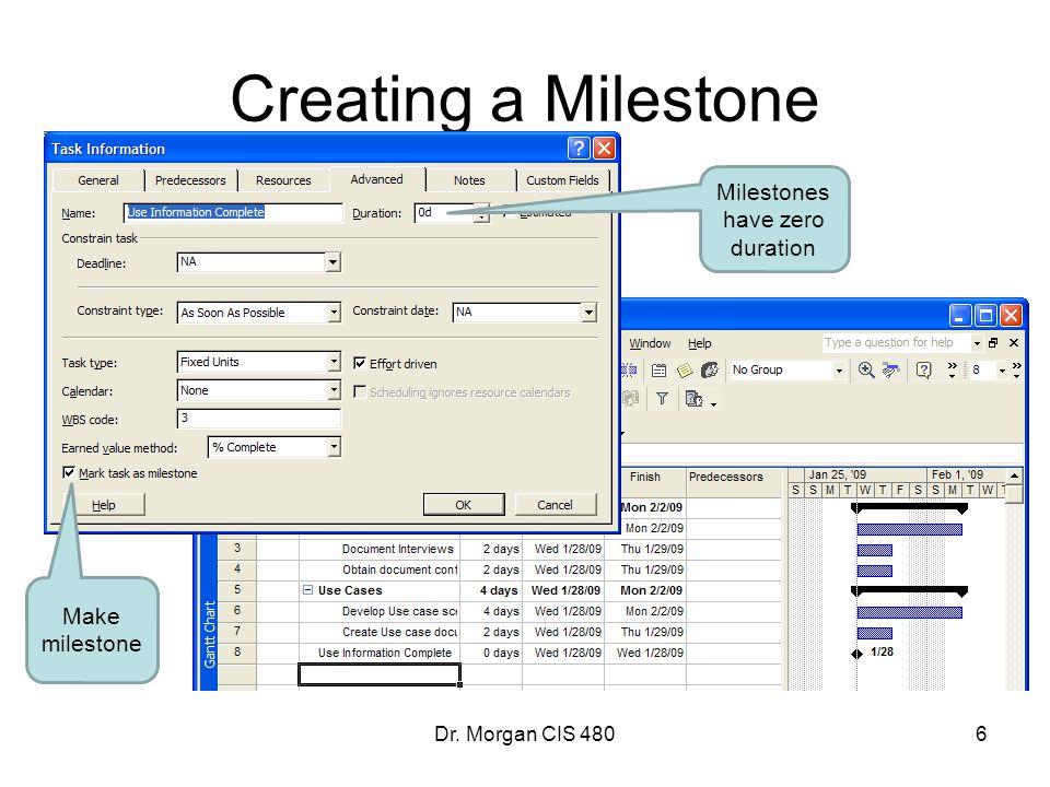 Milestones have zero duration