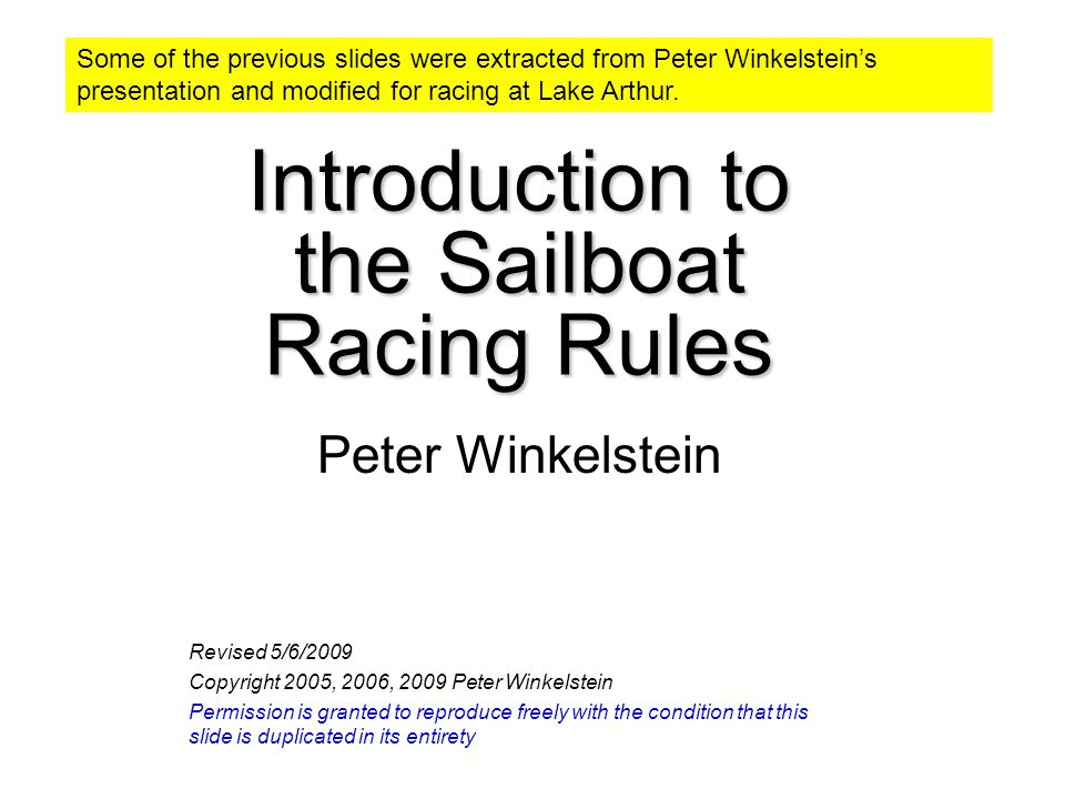 Introduction to the Sailboat Racing Rules