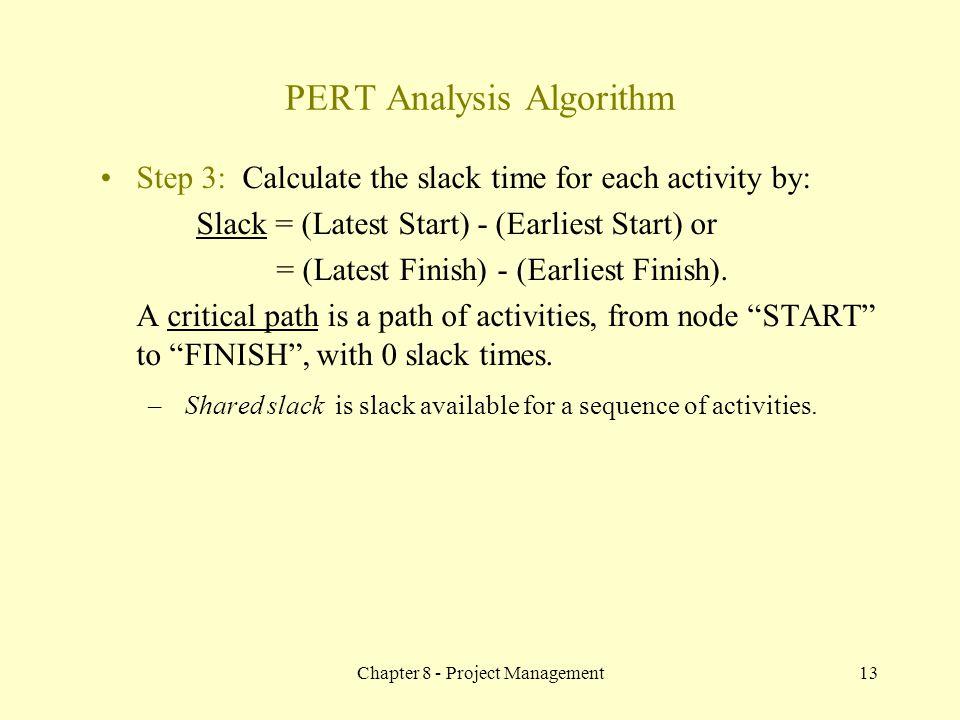PERT Analysis Algorithm