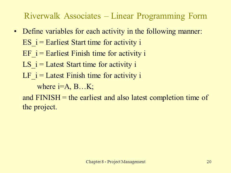 Riverwalk Associates – Linear Programming Form