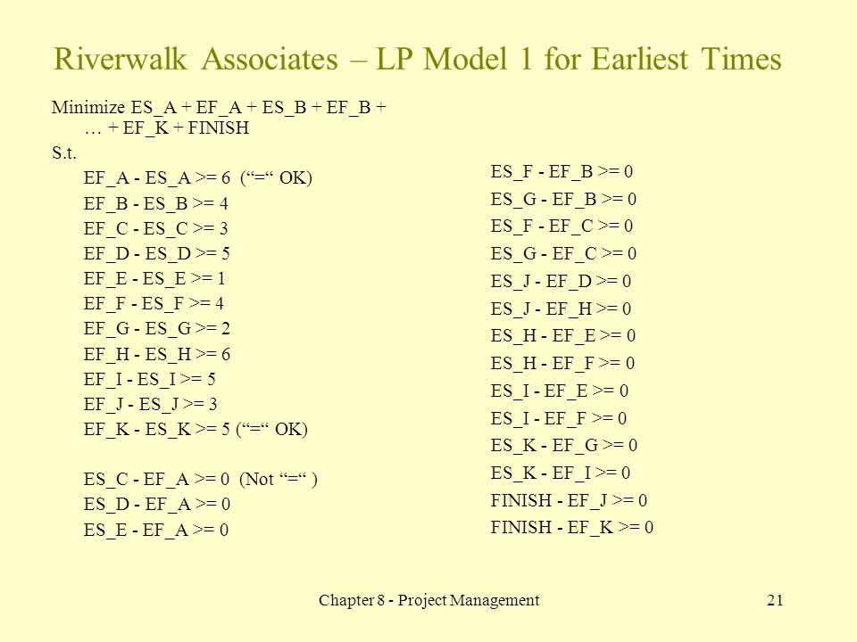 Riverwalk Associates – LP Model 1 for Earliest Times