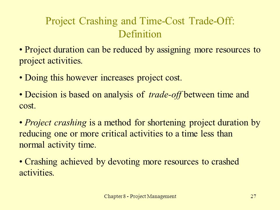 Project Crashing and Time-Cost Trade-Off: Definition