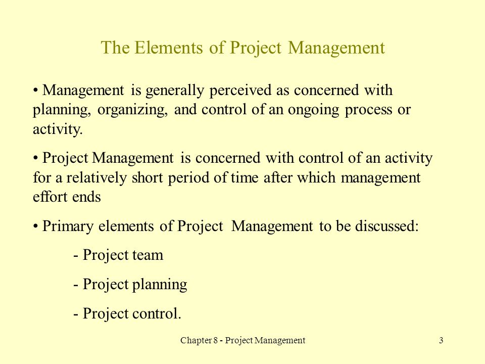 The Elements of Project Management
