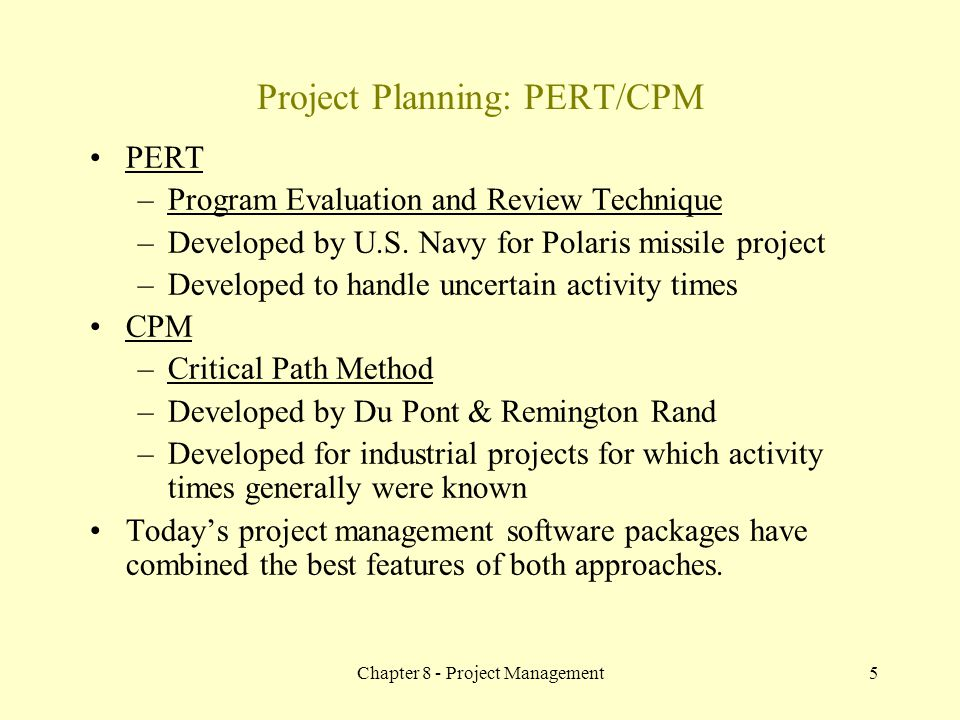 Project Planning: PERT/CPM