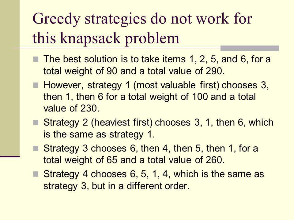 Greedy strategies do not work for this knapsack problem