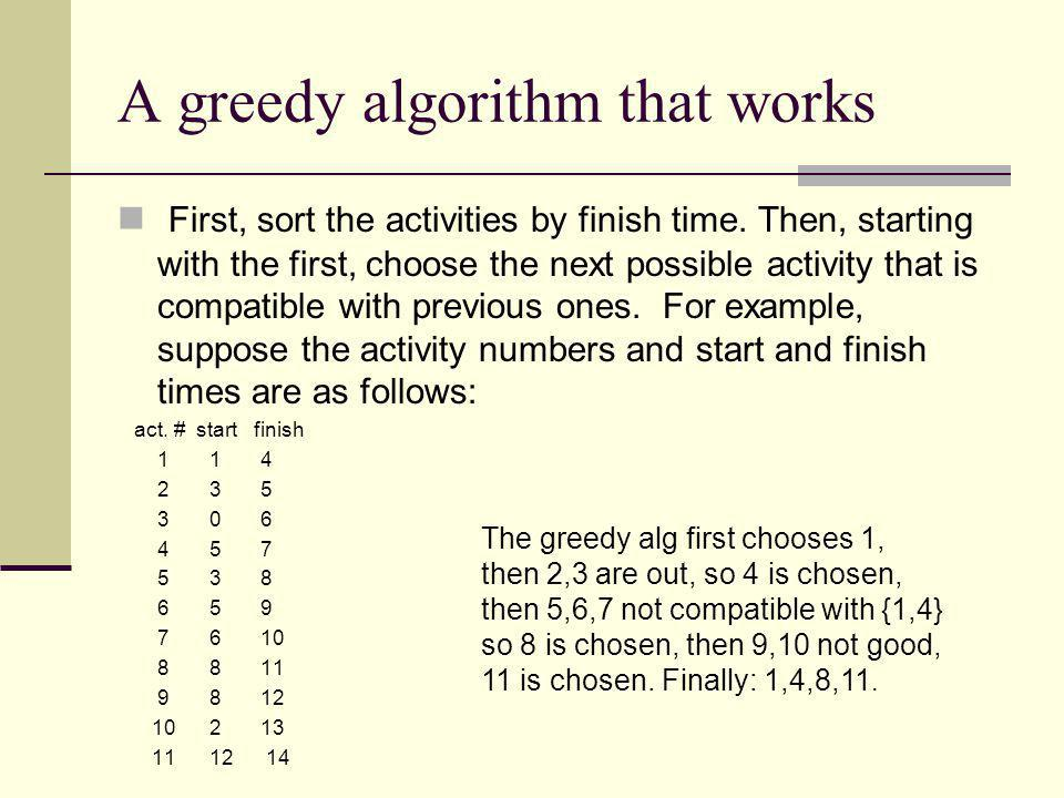 A greedy algorithm that works