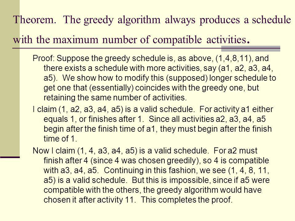 Theorem. The greedy algorithm always produces a schedule with the maximum number of compatible activities.