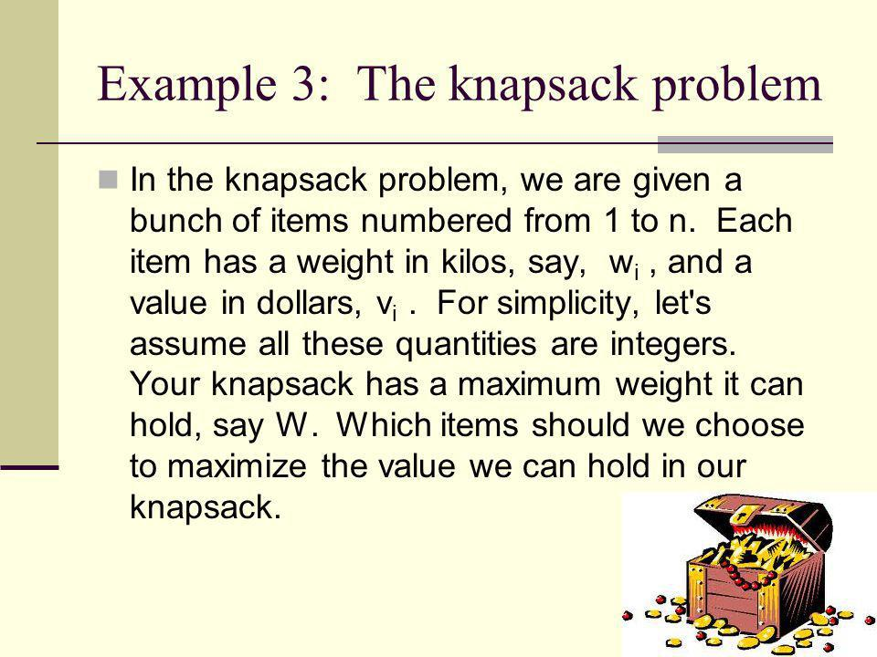 Example 3: The knapsack problem