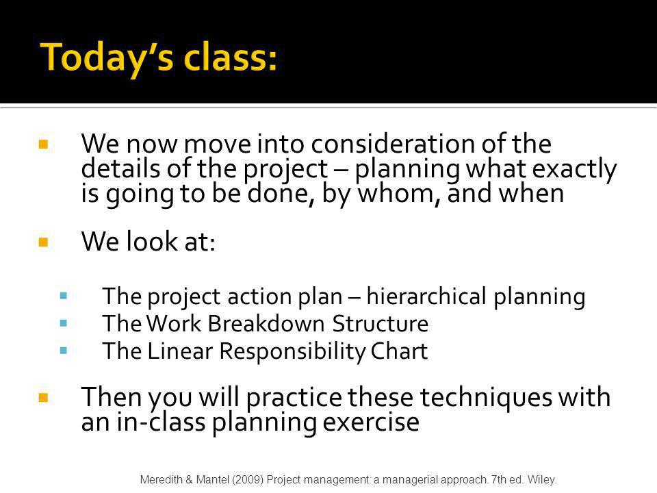 Today's class: We now move into consideration of the details of the project – planning what exactly is going to be done, by whom, and when.