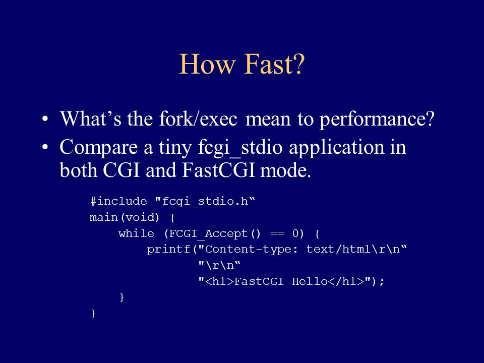 How Fast What's the fork/exec mean to performance