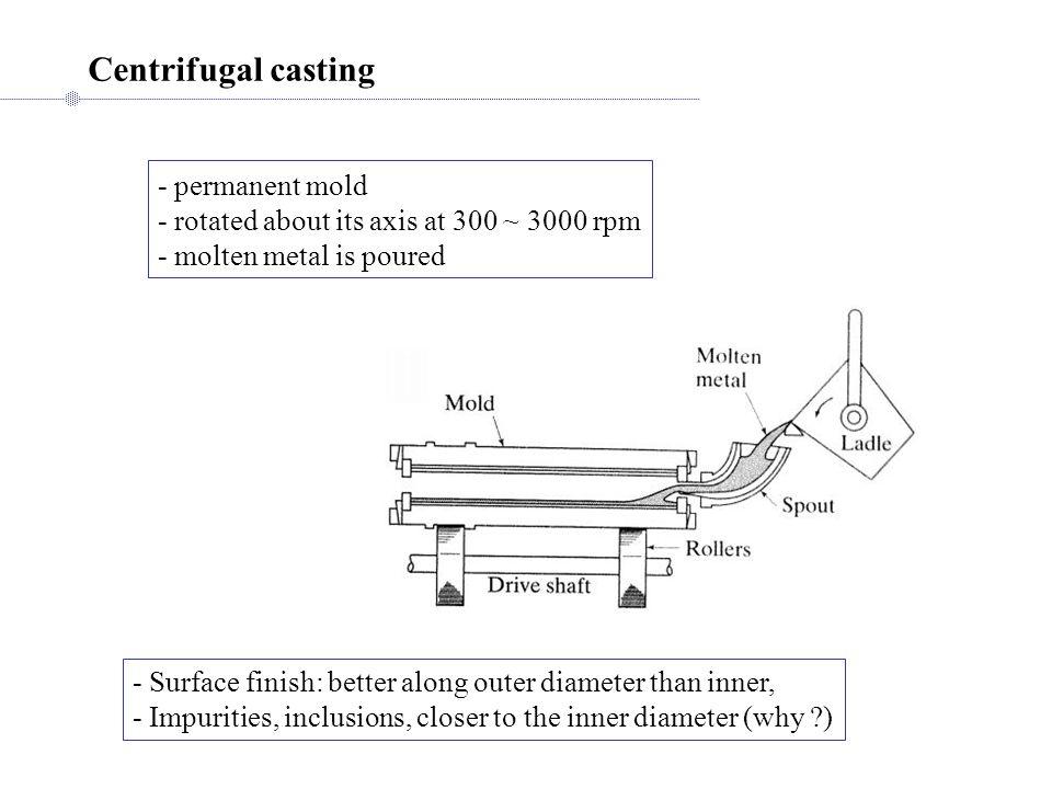 Centrifugal casting - permanent mold
