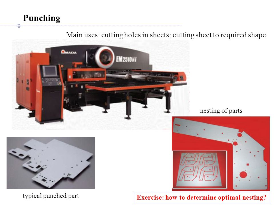 Punching Main uses: cutting holes in sheets; cutting sheet to required shape. nesting of parts. typical punched part.