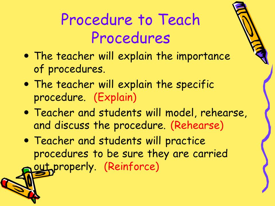 Procedure to Teach Procedures
