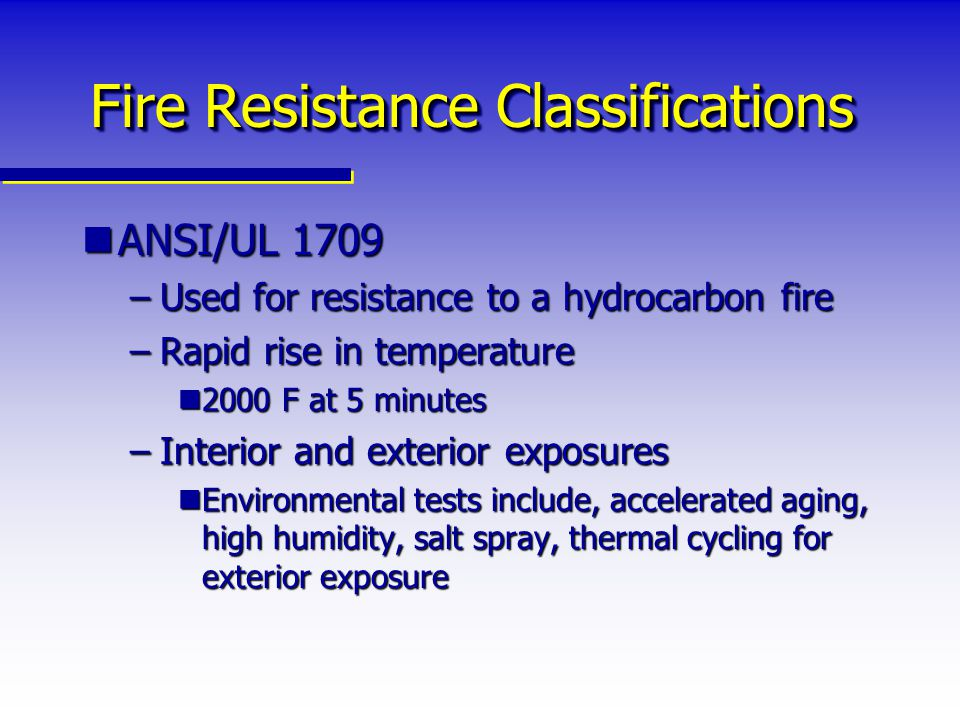 Fire Resistance Classifications