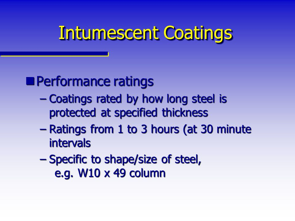 Intumescent Coatings Performance ratings