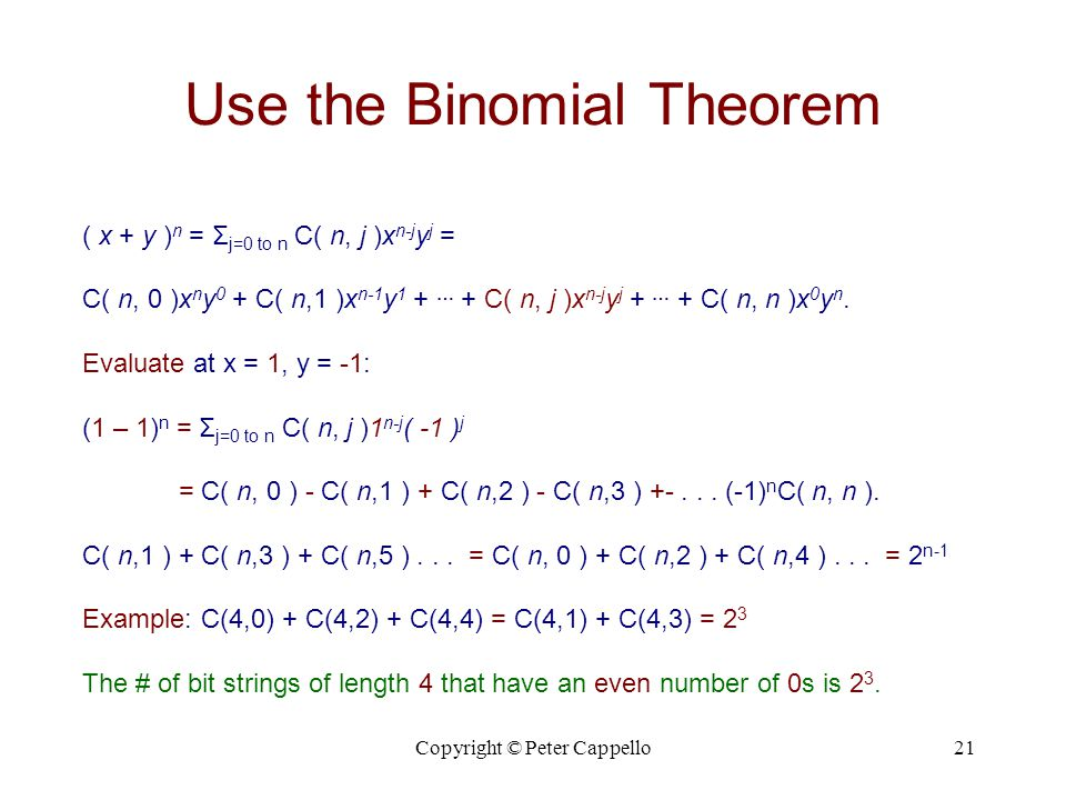 Use the Binomial Theorem