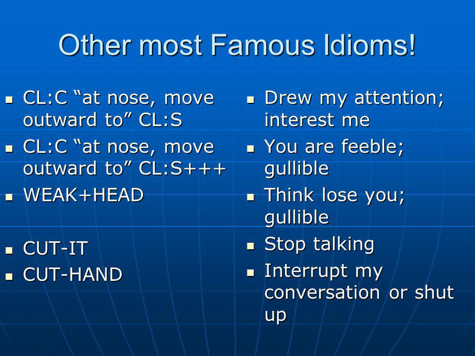 Other most Famous Idioms!