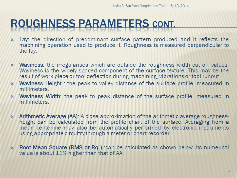 Roughness Parameters cont.