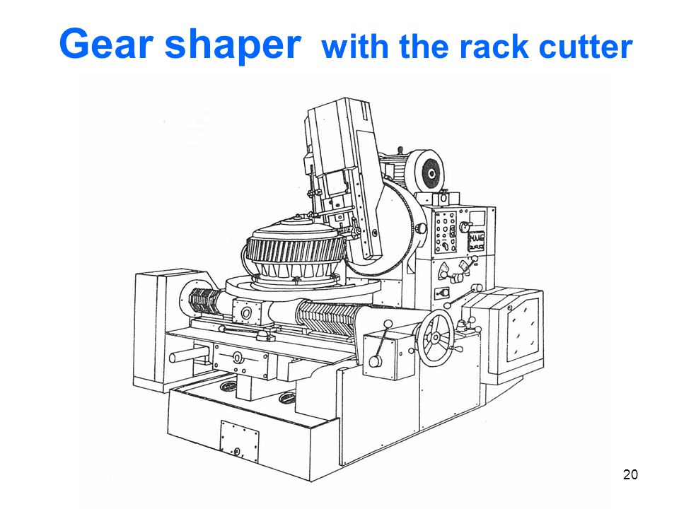 Gear shaper with the rack cutter