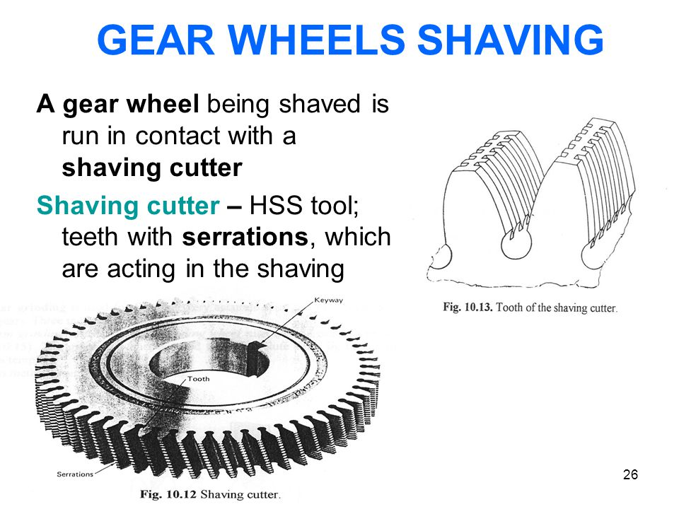 GEAR WHEELS SHAVING A gear wheel being shaved is run in contact with a shaving cutter.