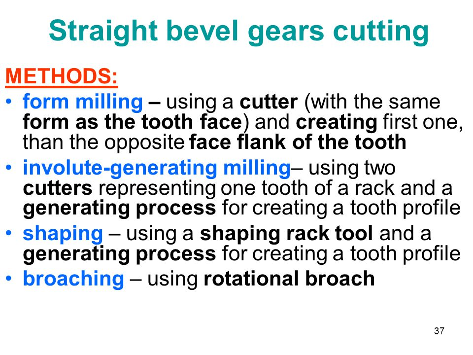 Straight bevel gears cutting
