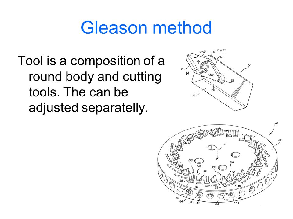 Gleason method Tool is a composition of a round body and cutting tools.