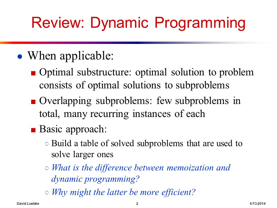 Review: Dynamic Programming