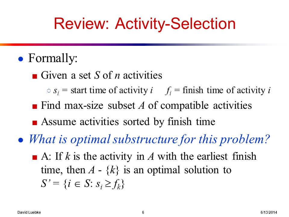 Review: Activity-Selection
