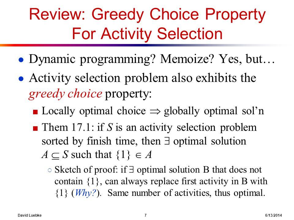 Review: Greedy Choice Property For Activity Selection