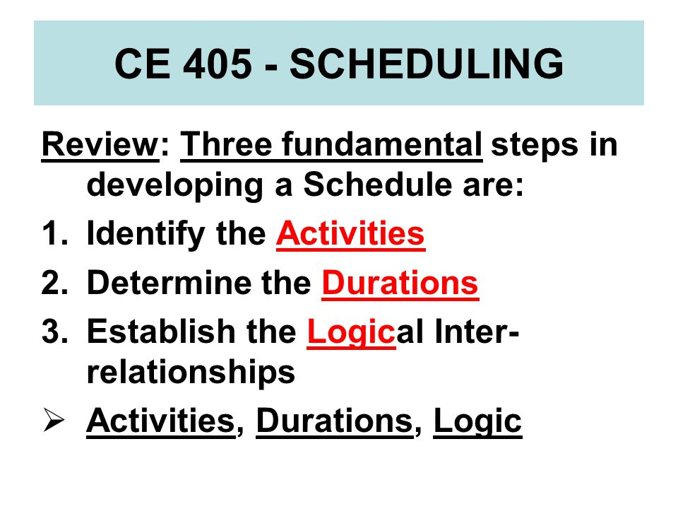 CE 405 - SCHEDULING Review: Three fundamental steps in developing a Schedule are: Identify the Activities.