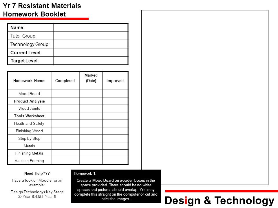 Design & Technology Yr 7 Resistant Materials Homework Booklet Name: