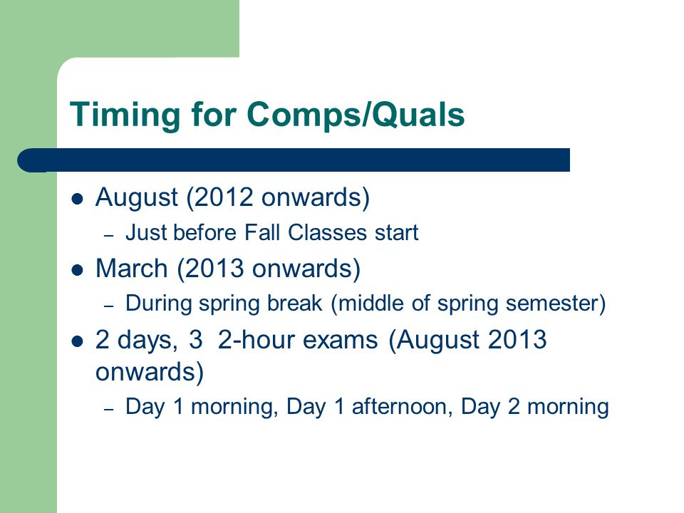 Timing for Comps/Quals