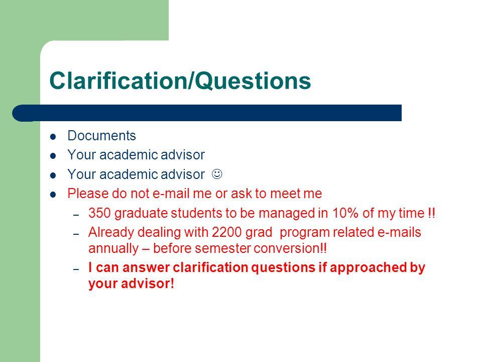 Clarification/Questions