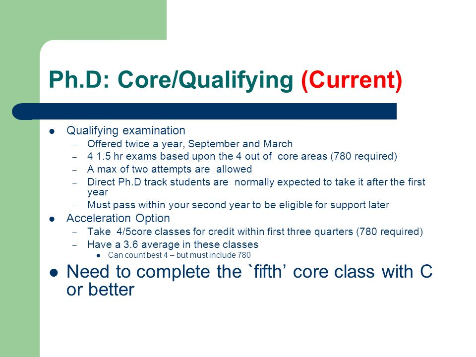 Ph.D: Core/Qualifying (Current)