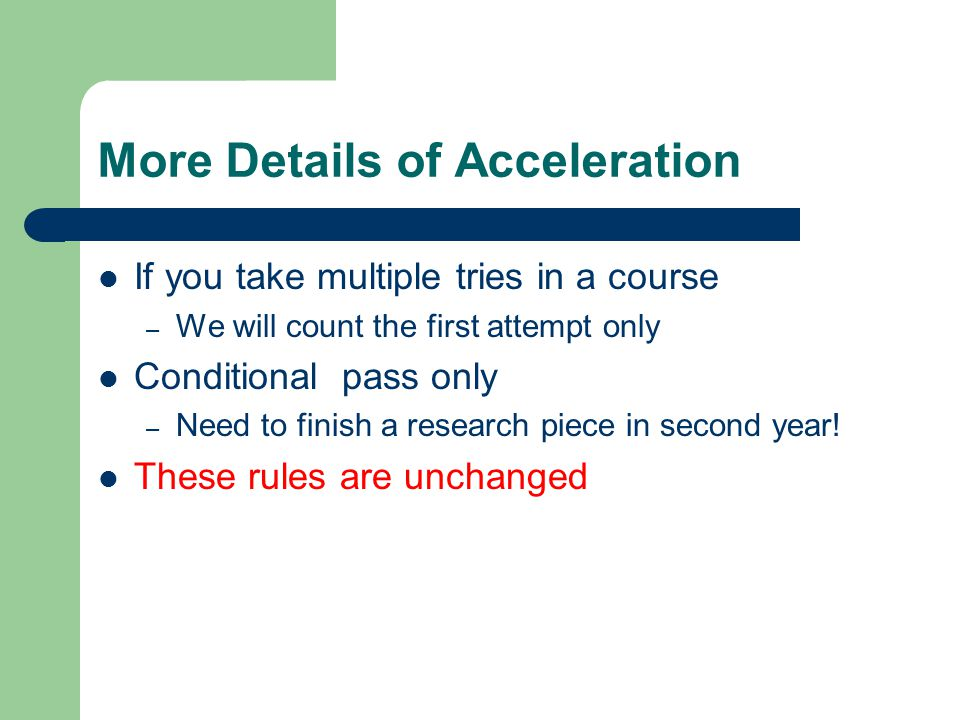 More Details of Acceleration
