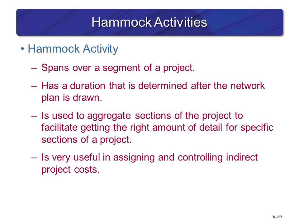 Hammock Activities Hammock Activity Spans over a segment of a project.