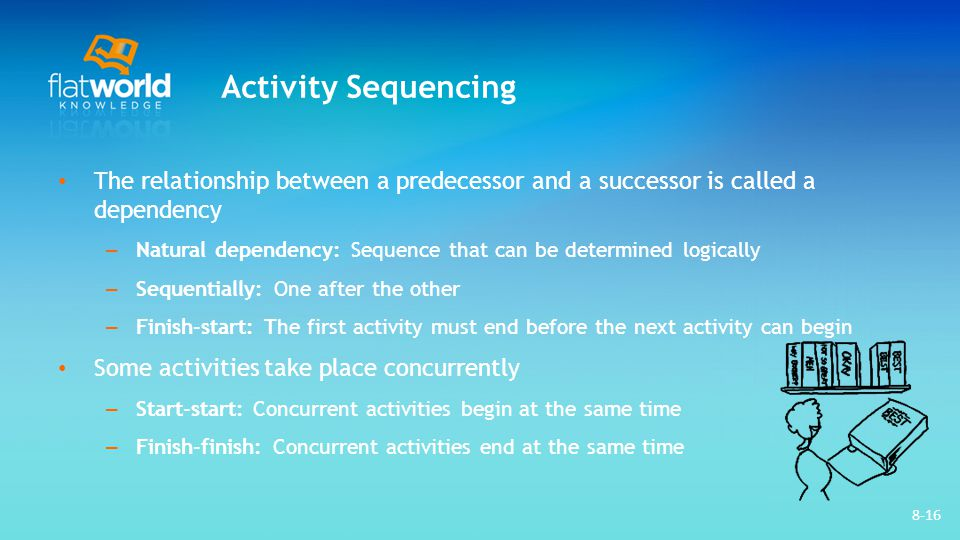 Activity Sequencing The relationship between a predecessor and a successor is called a dependency.