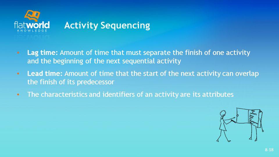 Activity Sequencing Lag time: Amount of time that must separate the finish of one activity and the beginning of the next sequential activity.