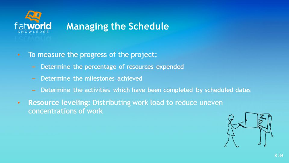 Managing the Schedule To measure the progress of the project: