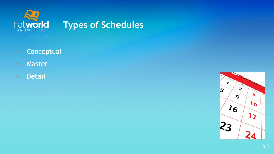 Types of Schedules Conceptual Master Detail