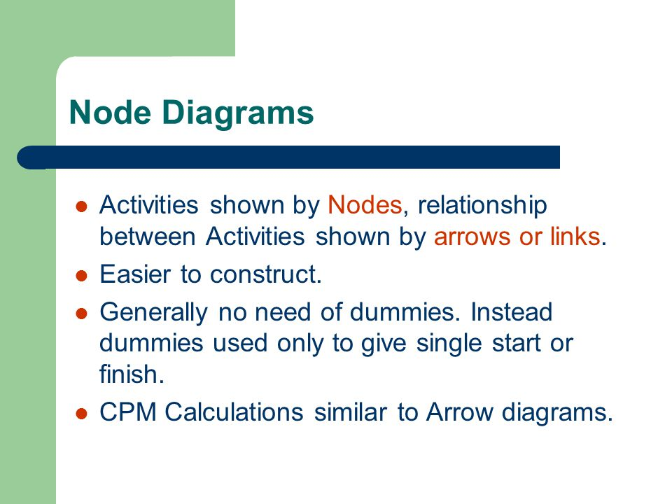 Node Diagrams Activities shown by Nodes, relationship between Activities shown by arrows or links. Easier to construct.