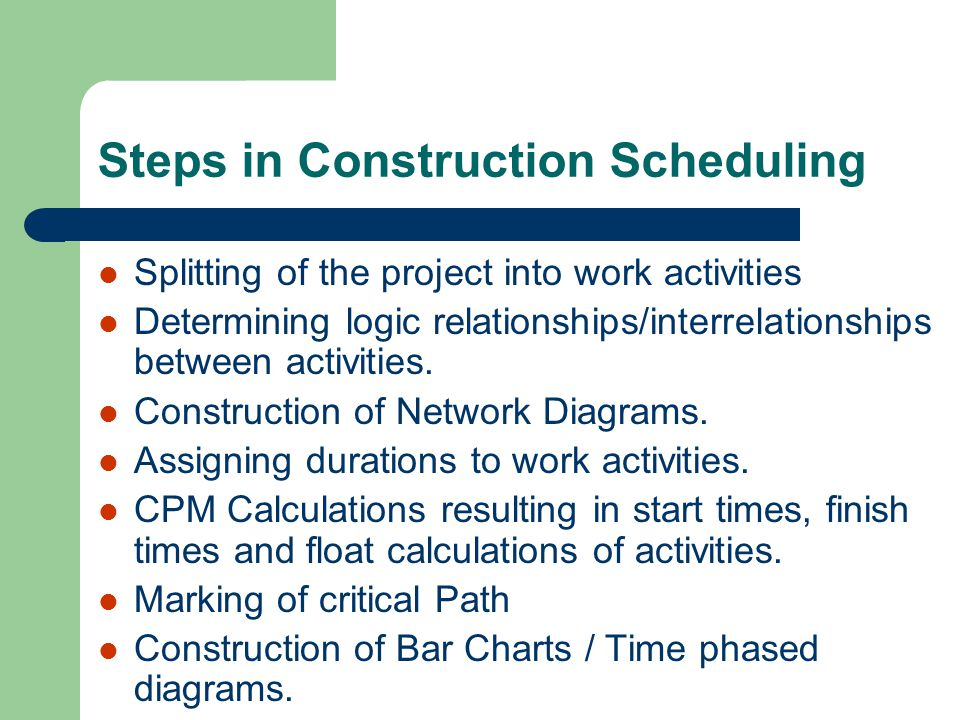 Steps in Construction Scheduling