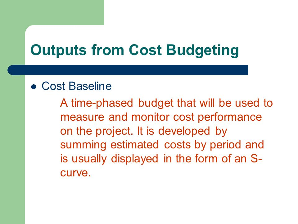 Outputs from Cost Budgeting