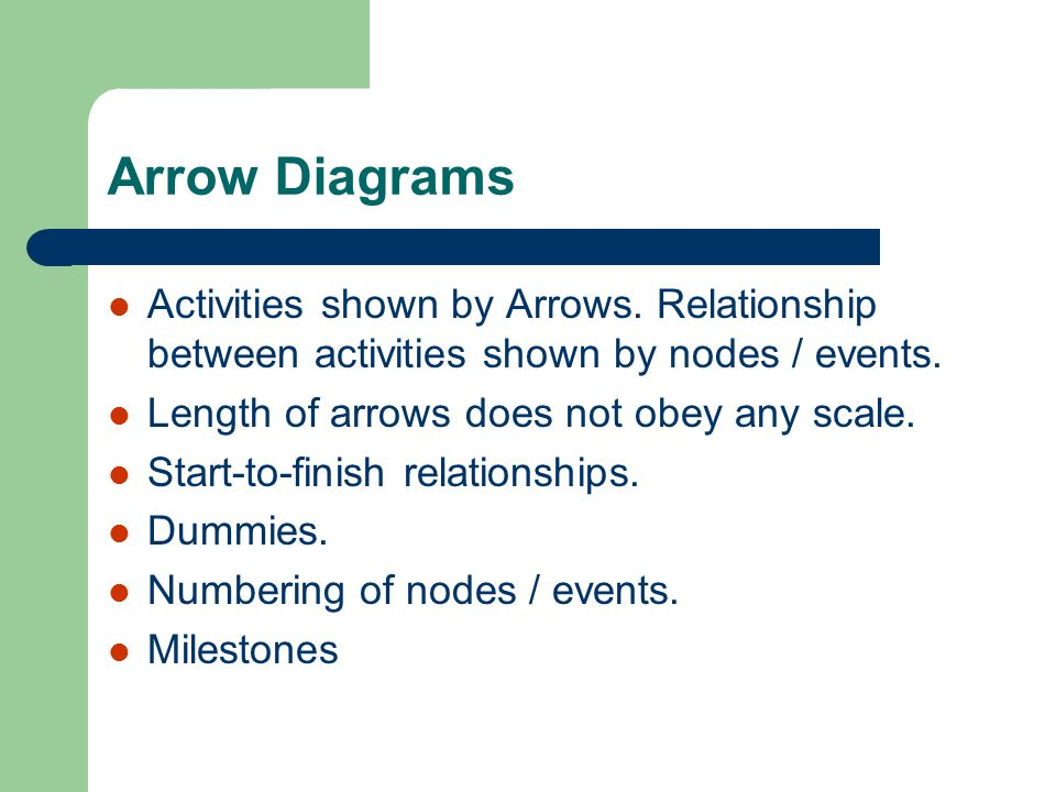 Arrow Diagrams Activities shown by Arrows. Relationship between activities shown by nodes / events.